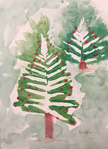 (10) MD Anderson Children's Art Project Oversize Christmas Holiday Cards - Fern Christmas Tree - White Envelopes - Seasons Greetings by Unknown