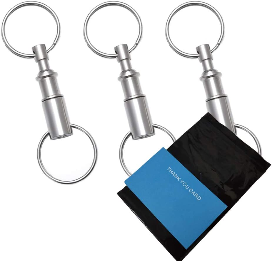 Rongbo 3 Pack Quick Release Detachable Pull Apart Key Rings Keychains,Double Spring Split Snap Seperate Chain Lock Holder Convenient Accessory Gift (3Pack)