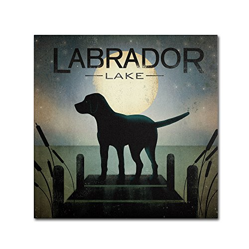 Moonrise Black Dog Labrador Lake by Ryan Fowler Wall Decor, 14 by 14-Inch Canvas Wall Art