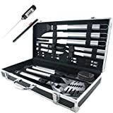 19-Piece BBQ Grill Tools Set - Stainless Steel Utensils Barbecue Grill Accessories with Aluminum Storage Case with Digital Thermometer - Complete Outdoor Grilling Kit for Dad