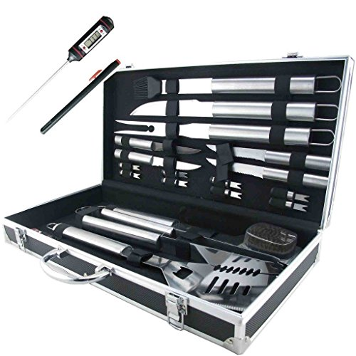 Cheapest Prices! 19-Piece BBQ Grill Tools Set, Stainless Steel Utensils Barbecue Grill Accessories w...