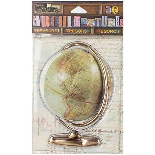 7GATRE-25090 7 Gypsies Architextures Treasures Adhesive Embellishments-Vintage World Globe -