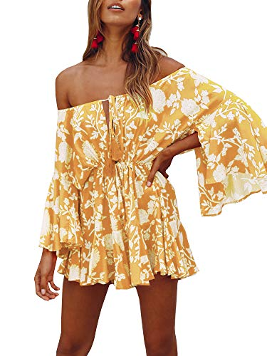 GAMISOTE Womens Off Shoulder Mini Dress Bell Sleeves Boho Floral Print Short Sundress Yellow ()