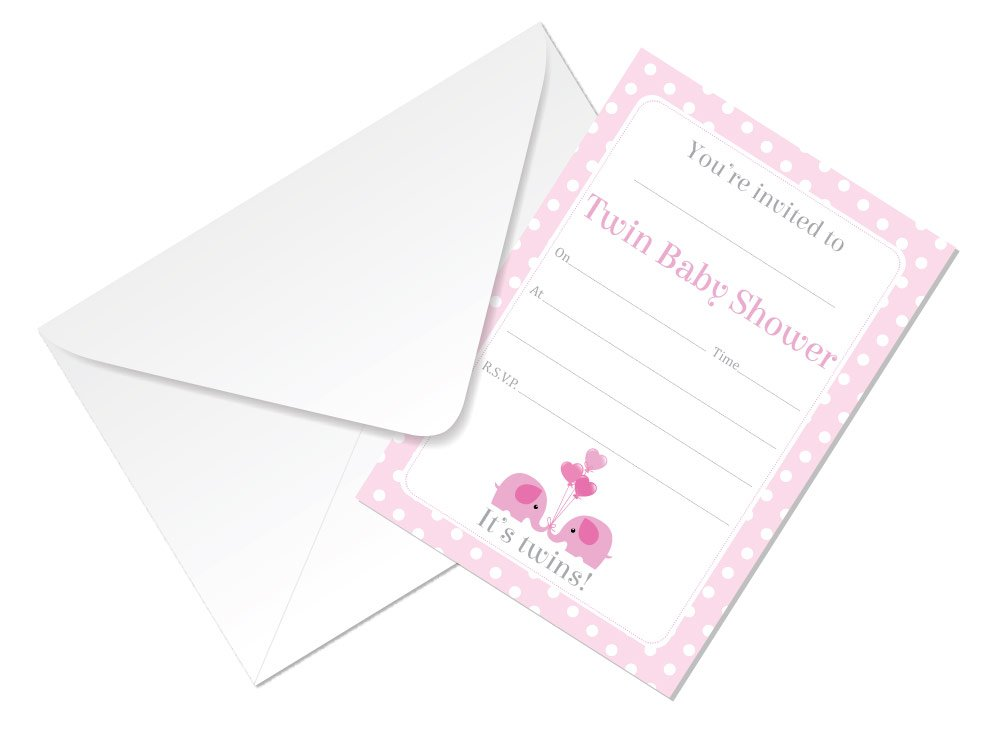 Twin Baby Shower Invitations - 4 Different Colours to Choose from - Yellow, Pink, Blue Or Pink and Blue - Pack of 16 with Envelopes (Pink and Blue) StickerZone