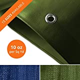 Tarps Heavy Duty Waterproof | Ground Tent Trailer Cover | Large Tarpaulin in Multiple Sizes | 10 oz/Sq Yd | Green - 20' x 50'