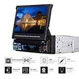 Diglife Car Stereo Bluetooth MP5 Player, 1 Single Din Digital Multimedia Player Car Radio with 7 inch Retractable Touch Screen, Rear View Camera, Support BT,USB Port, AUX, TF Card, FM/AM Radio