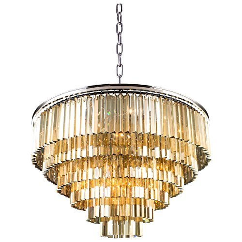 - Elegant Lighting Sydney Collection 33-Light Pendant Lamp with Royal Cut Golden Teak Crystals, Polished Nickel Finish