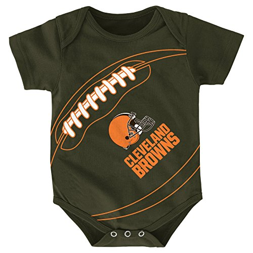 Outerstuff NFL Cleveland Browns Creeper, 6-9 Months, Brown Suede