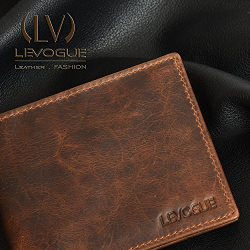 Genuine COW VINTAGE Leather RFID Blocking Handmade Bifold Wallet for Men 4 Credit card+1 ID Window+2 Note Compartment Minimalist Front Pocket Wallet- 100% Full Grain Cow Leather by LEVOGUE by LEVOGUE (Image #2)