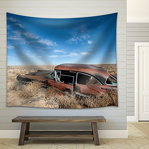 Old Rusted Car in the Middle of New Mexico Desert Fabric Wall Tapestry