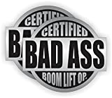 Bad Ass Boom Lift Operator Hard Hat Stickers | Badass Helmet Decals | Labels Toolbox Crane Manlift Motorcycle