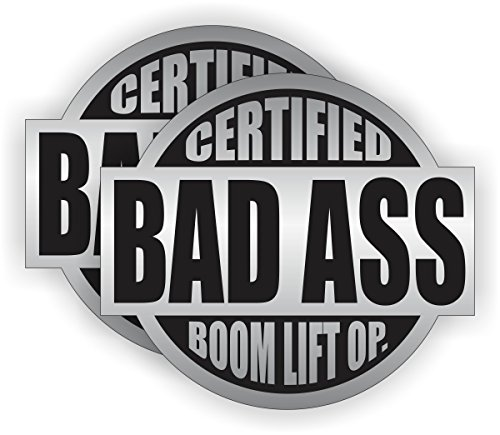 Bad Ass Boom Lift Operator Hard Hat Stickers | Badass Helmet Decals | Labels Toolbox Crane Manlift Motorcycle (Boom Lift)