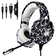 #LightningDeal ONIKUMA Xbox One Gaming Headset, PS4 Headset with 7.1 Surround Sound,Noise Canceling Over-Ear Headphones with Mic, Soft Memory Earmuff for PS4, PC, Xbox One Controller PS2 Nintendo Switch
