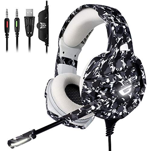 (ONIKUMA Xbox One Gaming Headset, PS4 Headset with 7.1 Surround Sound, Noise Canceling Over-Ear Headphones with Mic, Soft Memory Earmuff for PS4, PC, Xbox One Controller PS2 Nintendo Switch)