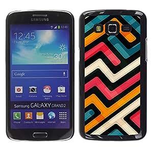 Paccase / SLIM PC / Aliminium Casa Carcasa Funda Case Cover para - Abstract Funky Modern Blue Orange White - Samsung Galaxy Grand 2 SM-G7102 SM-G7105
