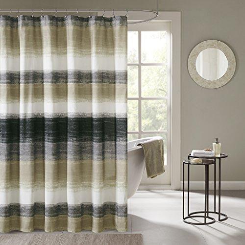 Madison Park MPE70-173 Essentials Saben Printed Shower Curtain 72x72 Taupe, 72 x 72,