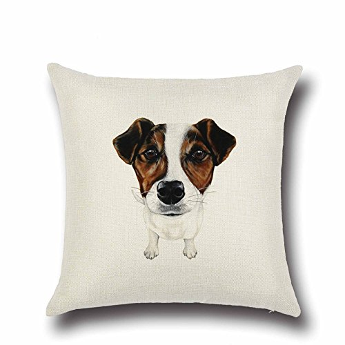 DECORLUTION Brown and White Jack Russell Terrier Pattern Durable Cushion Cover Throw Pillowcase Standard Size for Sofa Couch 18-Inch-by-18-Inch Cotton Linen Square Pillow Cover Pillow Case Decorative