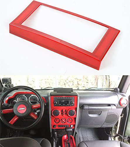 Opar Red Center Radio Trim for 2007 - 2010 Jeep JK Wrangler & Unlimited