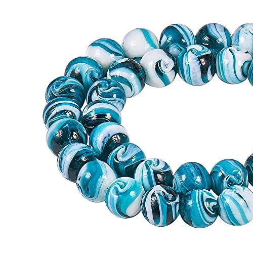 NBEADS 100 pcs 14mm Handmade Lampwork Round Loose Beads for Jewelry Making DIY Bracelet Necklace,Darkcyan,Hole: 1~2mm ()