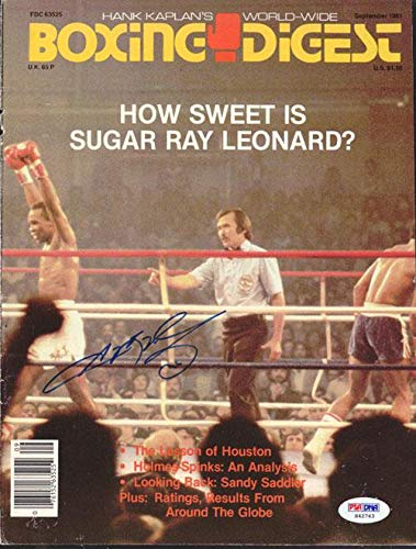 Sugar Ray Leonard Autographed Boxing Digest Magazine Cover #S42743 PSA/DNA Certified Autographed Boxing Magazines