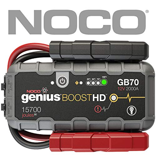 NOCO Boost HD GB70 2000 Amp 12V UltraSafe Lithium Jump Starter for up to 8L Gasoline 6L Diesel - 30 Happy Traveler Caps