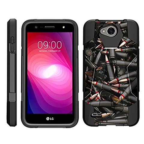 TurtleArmor   LG X Power 2 Case   LG K10 Power Case   LG X Charge Case [Dynamic Shell] Impact Hard Kickstand Hybrid Shock Silicone Cover Robot Military Army Design - Black (Lg Dynamic 2 Phone Case Camo)