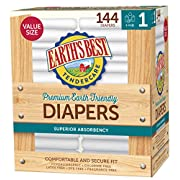 Earth's Best TenderCare Chlorine-Free Diapers, Fragrance Free, Size 1, Weight 8-14 lbs, 144 Count
