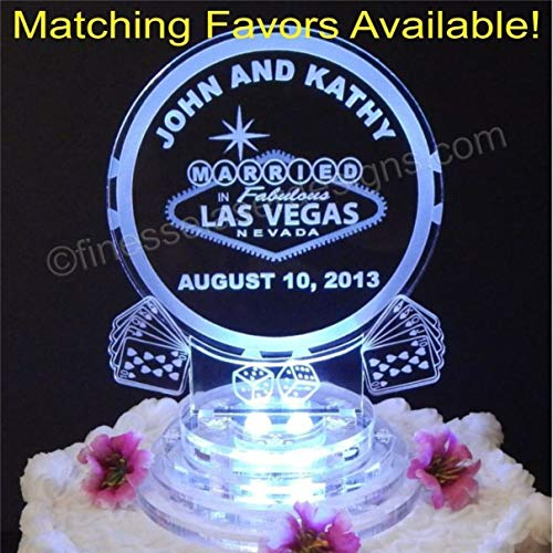 25 Keychain Favors + Las Vegas Lighted Wedding Cake Topper, matching key chain favors Acrylic Cake Top Personalized