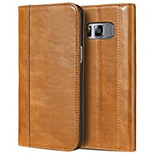 ProCase Galaxy S8 Genuine Leather Case, Vintage Wallet Folding Flip Case with Kickstand and Multiple Card Slots Magnetic Closure Protective Cover for Samsung Galaxy S8 -Brown