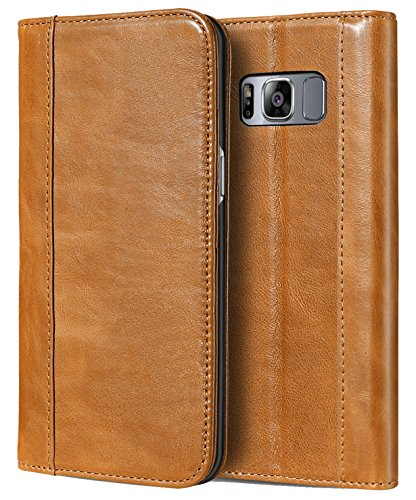 ProCase Galaxy S8 Genuine Leather Case, Vintage Wallet Folding Flip Case with Kickstand and Multiple Card Slots Magnetic Closure Protective Cover for Samsung Galaxy S8 - Armor Leather Genuine Case