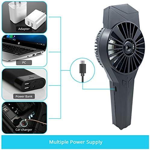 PHYLES Ventilateur Portable USB Rechargeable Mini Ventilateur de poche d'Atomisation Portatif Ventilateur Pour Voyage, Bureau, Extérieur, etc
