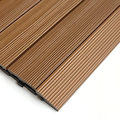 NewTechWood QD-SF-TK QuickDeck Composite Deck Tile Side Trim, 2-Inch x 1-Feet, Peruvian Teak, 4-Piece