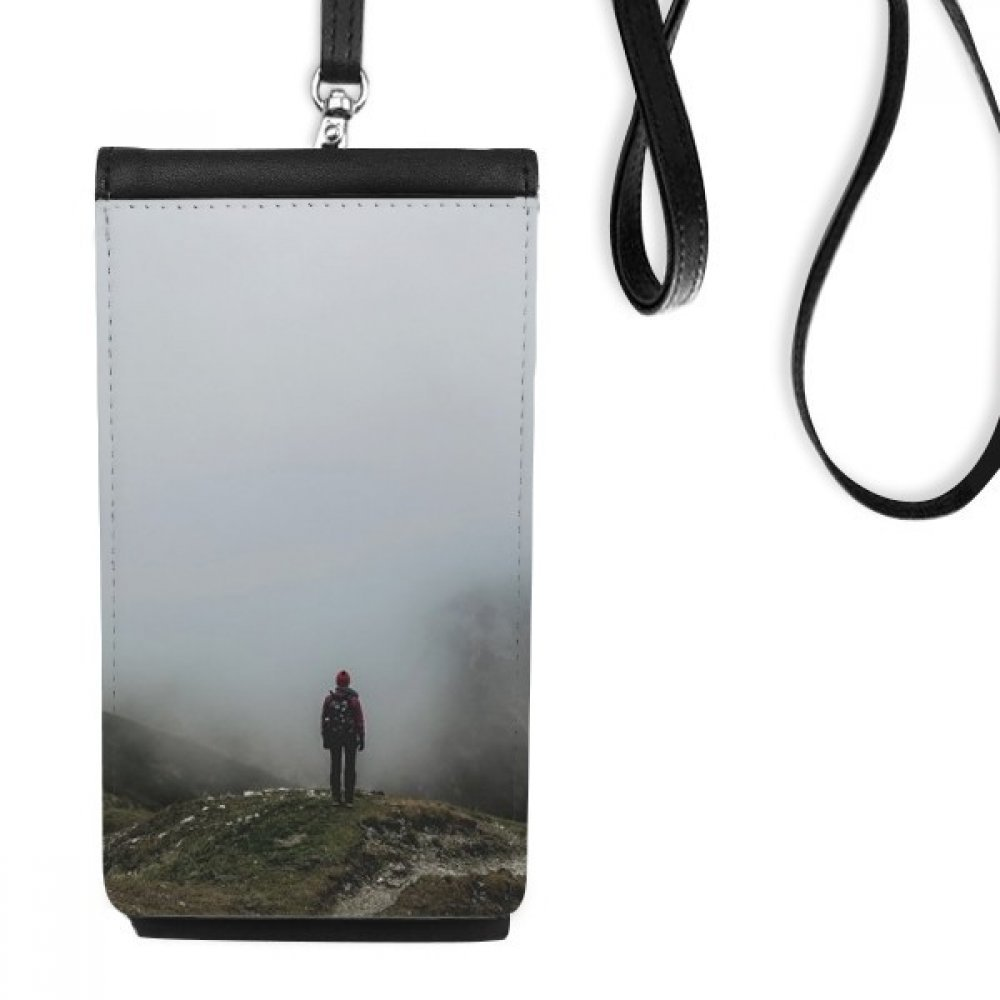 Fog Clouds Mountain Nature Travel Faux Leather Smartphone Hanging Purse Black Phone Wallet Gift