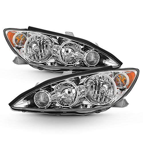 ACANII - For 2005-2006 Toyota Camry LE XLE SE Chrome Headlights Headlamps New Pair Replacement Driver + Passenger Side