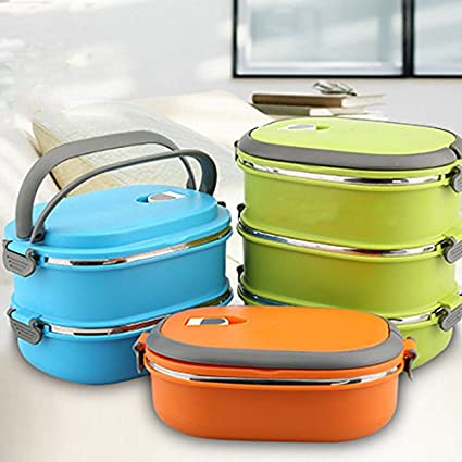 13697fbf7b Amazon.com - Hot Thermal Insulated Bento Stainless Steel Food Container  Lunch Box 1 2 3 Layer Styles:Double Layer Colors:Blue by Ainest -