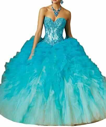 7490d5e9e095 HSDJ Women's Ombre Tull Ball Gowns Sweet 16 Applique Ruffled Quinceanera  Dresses