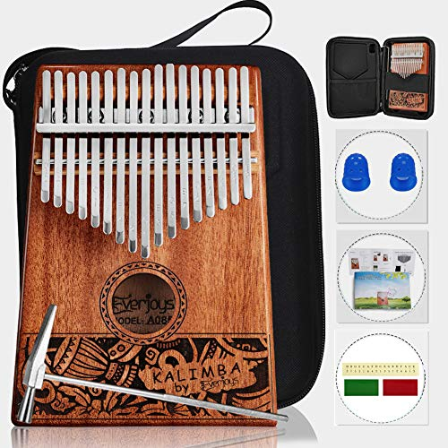 Kalimba Thumb Piano 17 Keys, Portable Mbira Finger Piano w/Protective Case, Fast to Learn Songbook, Tuning Hammer, All in One Kit