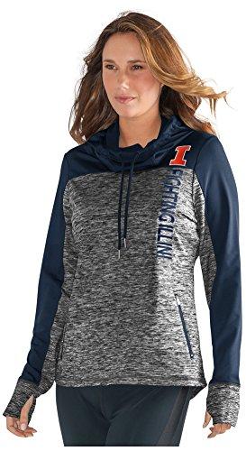 GIII For Her NCAA Illinois Illini Women's Sideline Pullover Hoody, XX-Large, Grey/Navy