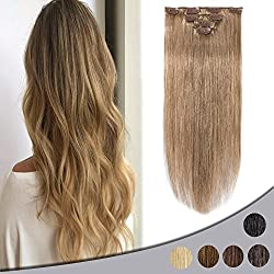 """Remy Clip in Hair Extensions 14"""" 4pcs Real Double Drawn Human Hair Standard Weft Thin Long Straight Silky 40g 8clips #27 Dark Blonde"""