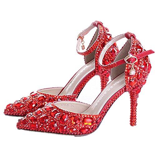 Kenkä Kadanting Lähellä Naisten Kaunis Punainen Korkokengät Crystal Sandaalit Toe rr07v
