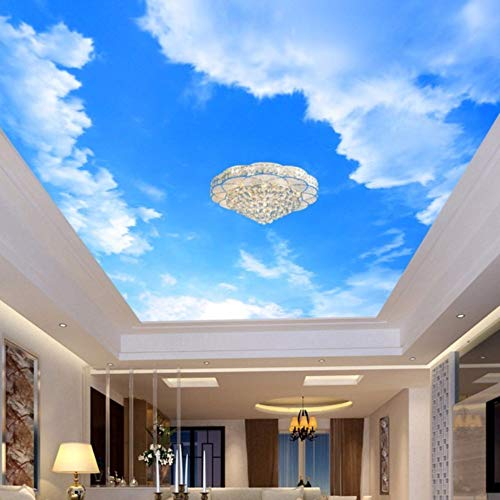 hwhz Custom 3D Photo Wallpaper Blue Sky and White Clouds Ceiling Mural Living Room Bedroom Ceiling Background Decoration Painting-120X100Cm
