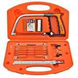 Hand Saw Kits Multi-purpose 14-in-1 Hacksaw Portable Bow Hand Saw Kit for Woodworking Tool for Cutting PVC/ /Aluminum/Glass/Plastic Diy Hacksaw Blades Tool Case