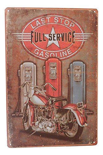 Last Stop Gas Motorcycle Funny Tin Sign Garage Bar Pub Diner Cafe Home Wall Decor Home Decor Art Poster Retro ()