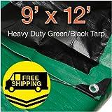 Super Heavy Duty Green/ Black Poly Tarp Size 9' X 12' By Comfitwear