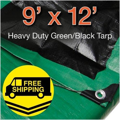 Super Heavy Duty Green// Black Poly Tarp Size 9 X 12 By Comfitwear