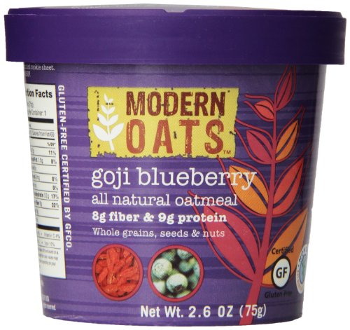 Modern Oats Goji Blueberry Oatmeal 2.6 Ounce (Pack of 12), Gluten Free, Non-GMO, Whole Grain, Vegan, and Kosher, Contains Tree Nuts Almond Apple Tart