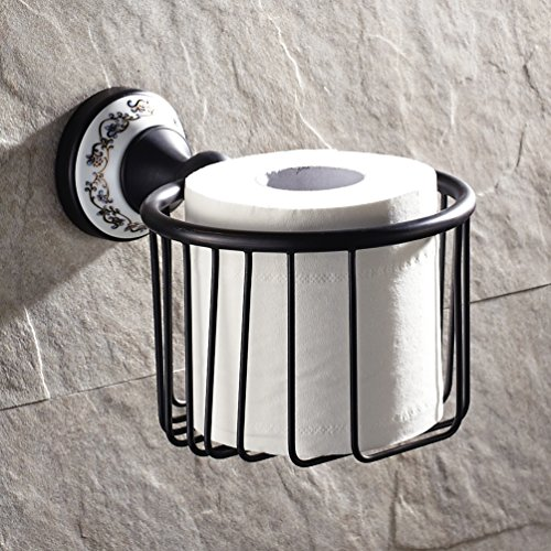 Vintage Oil Rubbed Bronze Finish Wall Mount Roll Toilet Paper Wire Basket Toilet Tissue Caddy Storage Bathroom Shower Cosmetic Holder Soap Basket (#4 Oil Rubbed Bronze) by GUMA