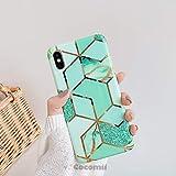 cocomii geometric marble iphone xr case, slim thin glossy soft flexible tpu silicone rubber gel