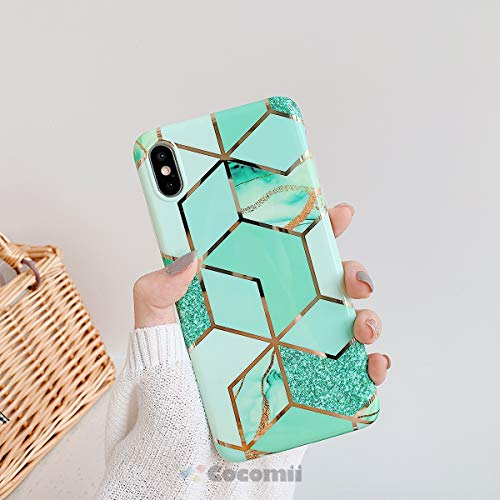 Cocomii Geometric Marble Armor iPhone Xs Max Case New [Gold Shiny Lines Granite] Ultra HD Vivid Pattern Never Fade Anti-Scratch Shockproof [Slim] Cover for Apple iPhone Xs Max (GM.Green/Glitter)