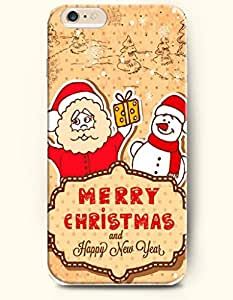 OFFIT iPhone 6 Plus Case 5.5 Inches Merry Christmas and Happy New Year - Santa Claus Gives Snowman a Gift